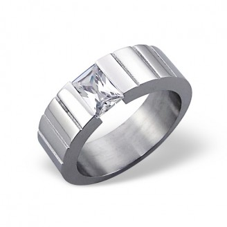"Prsten z chirurgické oceli se zirkonem ""Aissa"""